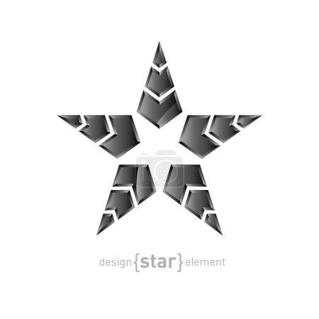 白色背景上的箭头矢量金属星