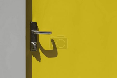 Bright yellow metal door