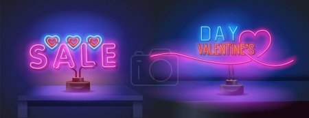 Happy Valentines day. 3d neon sign on a stand. Realistic neon sign. Love day banner, logo, emblem and label. Bright signboard, light banner.