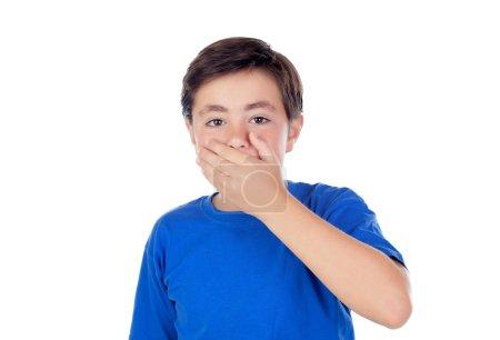 小男孩十岁捂他的嘴