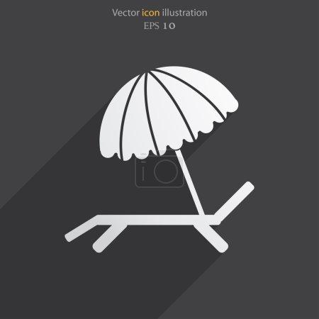 矢量海滩伞和躺椅图标