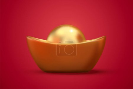 Cute Chinese giant gold ingot isolated on red background in 3d illustration