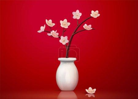 Lovely ceramic plum flower in white vase isolated on red background, 3d illustration
