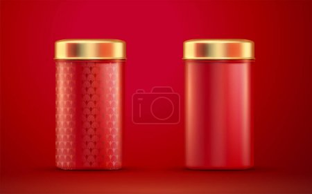 3d illustration red round tins with gold lids set isolated on red background