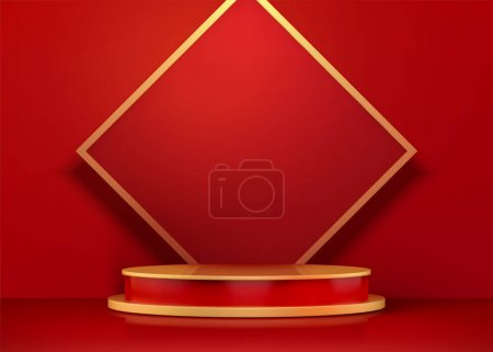 Blank doufang and round podium background for lunar new year, 3d illustration