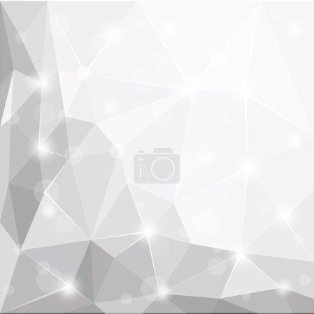 抽象的多边形几何面闪亮白色, 灰色和银色背景图