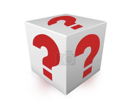 在白色的盒子上红色的问号.插图