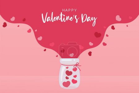 A glass jug with lots of pink hearts. The heart floats in the air. Valentine's Day gift ideas
