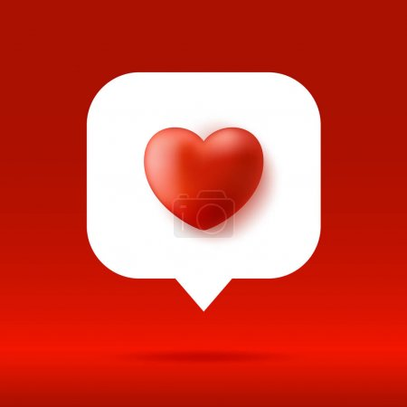 Card or Flyer Valentine realistic red heart Like counter, comment follower and notification symbol vector illustration.