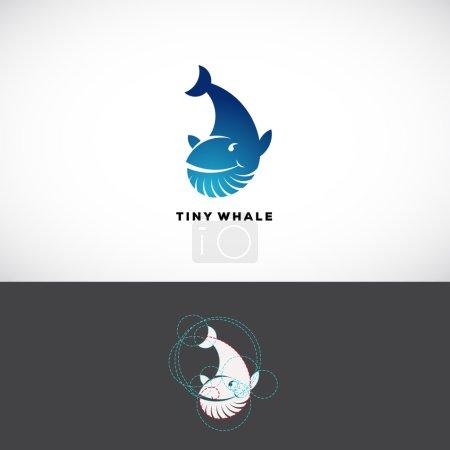 小鲸鱼抽象矢量标志模板.平面样式标记, 图标或符号用
