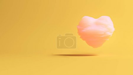 Pink cloud in shape of the heart with nice shadow on a fortuna gold background. Valentine's day minimal concept with copy space for text. 3D render