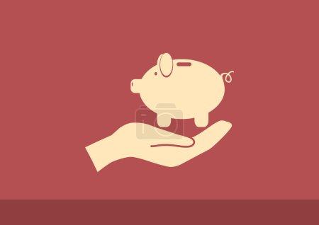 储钱罐在人类手状图标,轮廓矢量图