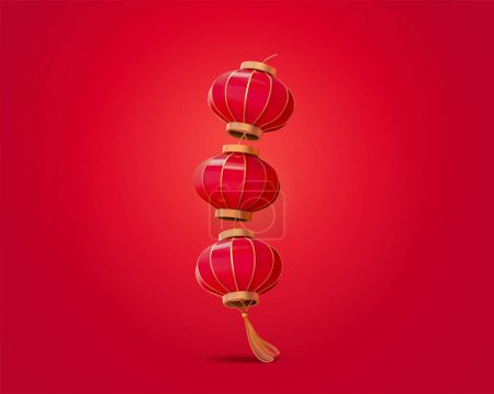 3d illustration of red lanterns with tassel isolated on red background, design elements for Chinese lunar year