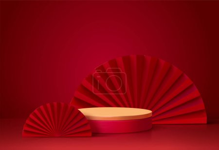 3d background template with the stage podium and red fans as the decoration, suitable for Asian products