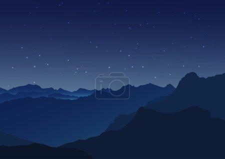 矢量背景。布满星星的夜空。星星,天空,夜。山的轮廓
