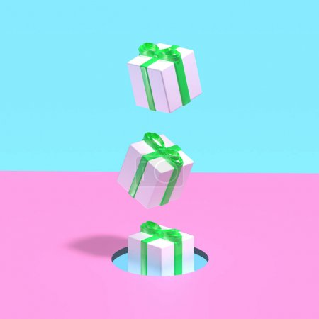 3d render. Xmas gift boxes flying from hole on pink and blue pastel background. Winter holidays concept. Surreal art.