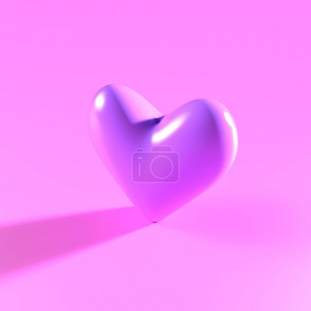 3d render of smooth purple plastic heart with shadow in minimalistic style. Design concept of Valentine's Day.